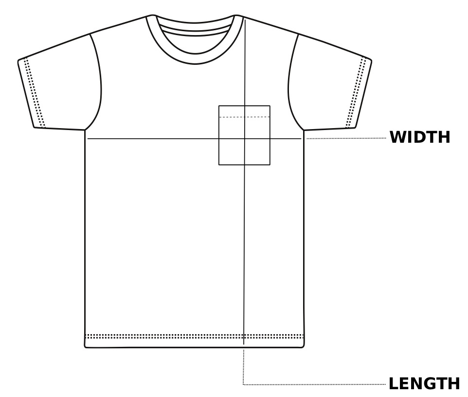 Enkalda Heavyweight Pocket T-Shirt Size Chart