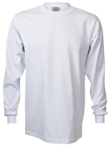 WHITE PREMIUM HEAVYWEIGHT LONG SLEEVE T-SHIRT