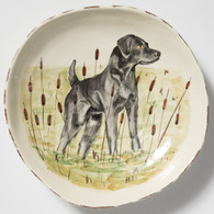 Vietri Wildlife Black Hunting Dog Large Serving Bowl