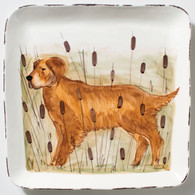 Vietri Wildlife Golden Retriever Hunting Dog Large Square Platter