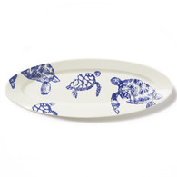 Vietri Costiera Blue Turtle Narrow Oval Platter