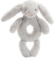 Jellycat Bashful Bunny Grey Ring Rattle Grabber