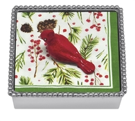 Mariposa Red Cardinal Beaded Napkin Box