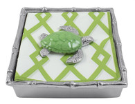 Mariposa Green Sea Turtle Bamboo Cocktail Napkin Box
