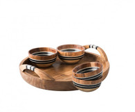 Juliska Stonewood Stripe Natural 5 Piece Appetizer Set - Tray with 4 Bowls