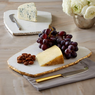 White Marble Cheese plate with silver/gold rim with knife set (6689)