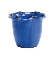 Small Scalloped Cachepot - Cobalt