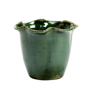 Small Scalloped Cachepot - Green