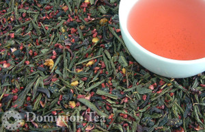 Loose Leaf Hibiscus Isle Green Tea and Infused Liquor