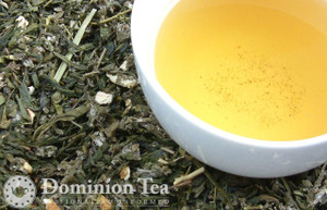 Orange Blossom Green Tea Dry Leaf and Liquor