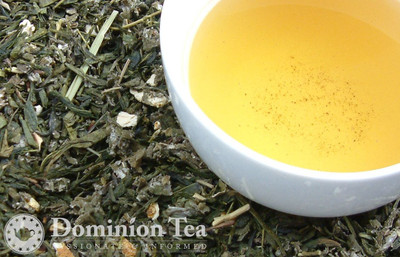 Orange Blossom Green Tea Dry Leaf and Liquor