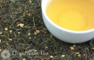 Tropical Blossom Green Organic Tea Dry Leaf and Liquor