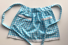 Light Blue Check Skirt Apron