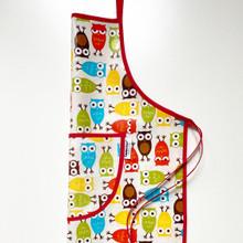 Owl laminated cotton apron
