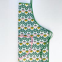 Laminated cotton floral apron