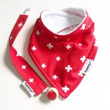 Swiss flag bandana & dummy holder set