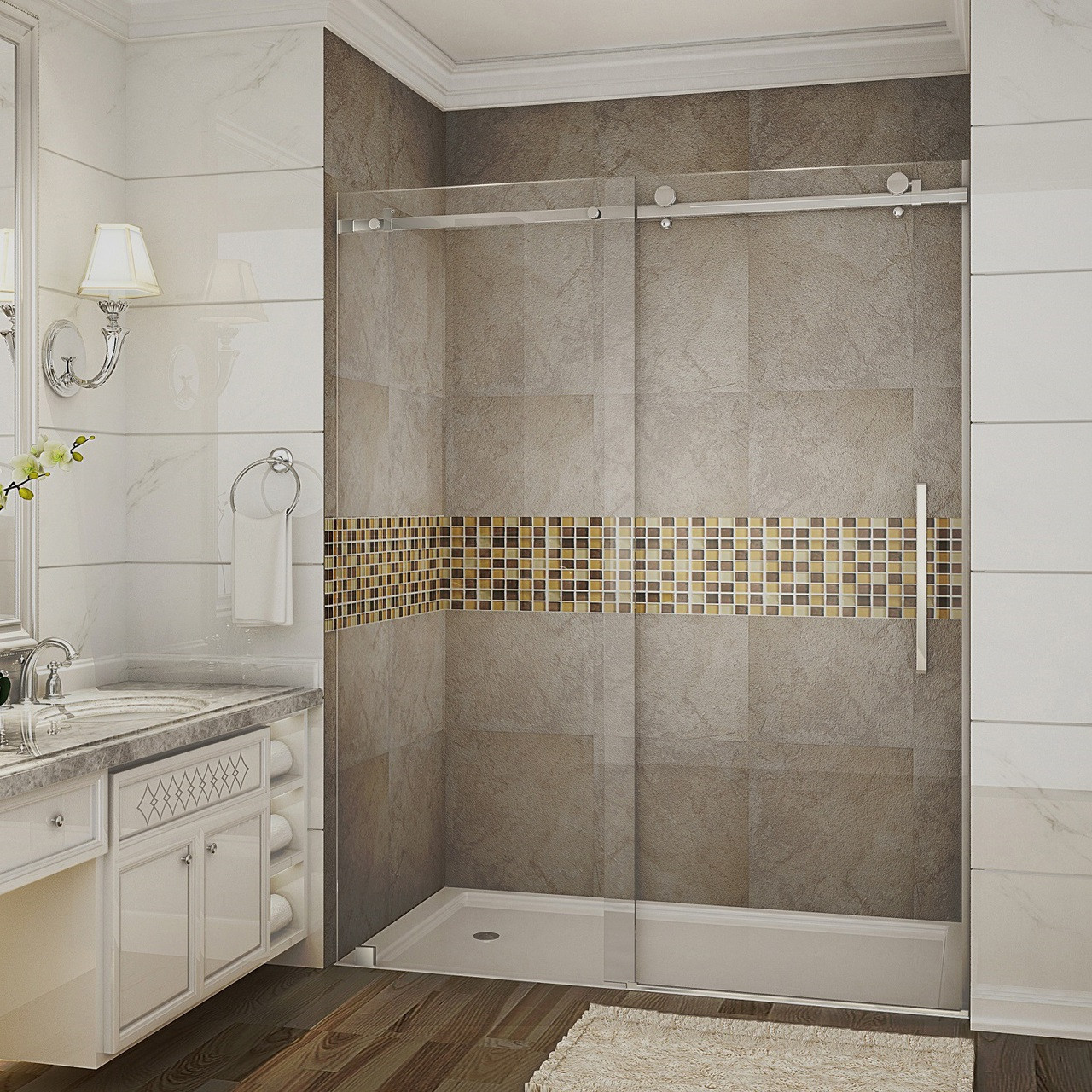 Sdr976 Moselle Completely Frameless Sliding Alcove Shower Door