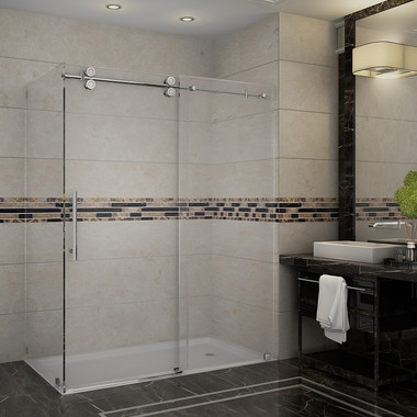 """Langham 60"""" x 32"""" x 75"""" Completely Frameless Shower Enclosure with Clear Glass"""