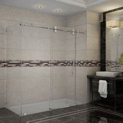 "Langham 72"" x 35"" x 75"" Completely Frameless Shower Enclosure with Clear Glass"