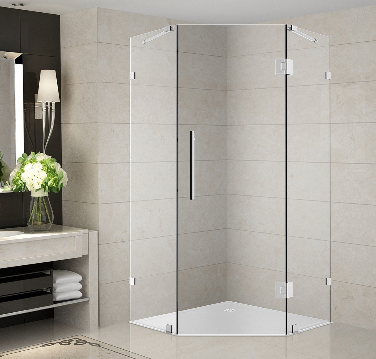 Neoscape Sen986 Completely Frameless Neo Angel Shower Enclosure