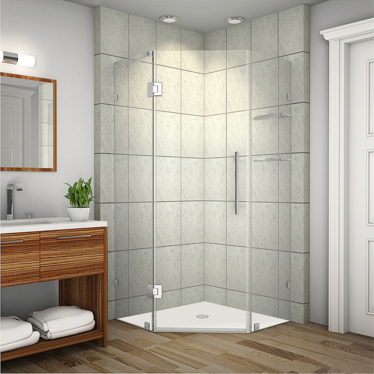 Details About Aston Global Neoscape Gs 34 X 34 72 Frameless Neo Angle Glass Hinged Shower Door