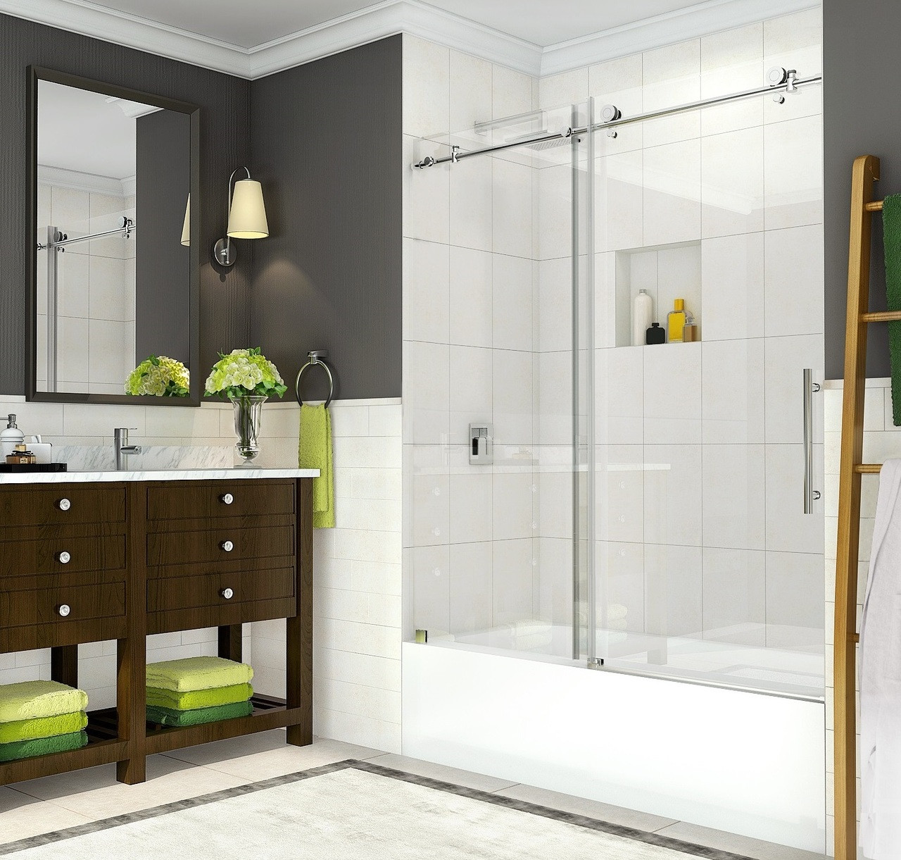 Tdr984 Coraline Completely Frameless Sliding Alcove Tub Door