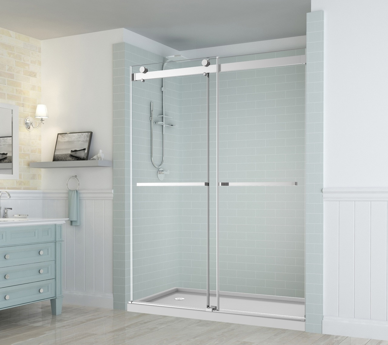 Frameless Shower Doors.Sdr977 Rivage Frameless Dual Bypass Sliding Alcove Shower Door With