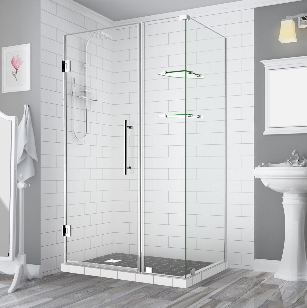Sen962 Bromley Gs Frameless Square Rectangular Shower Enclosure With Shelves And Starcast Coating