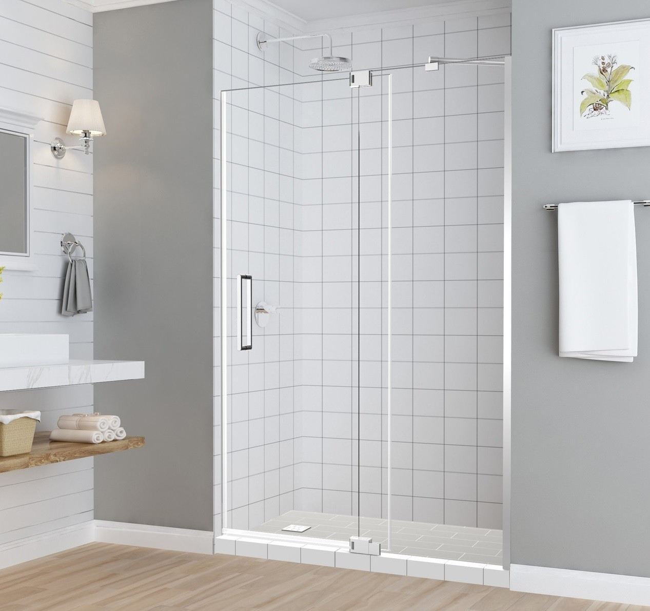 Sdr950 Madox Frameless Alcove Pivot Shower Door With