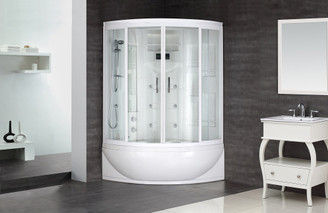 "ZAA210 87"" Steam Shower Whirlpool Bath with 24 Body Jets"