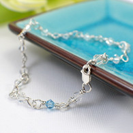Something Blue anklet wedding bridal sterling silver
