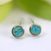 Small turquoise millefiori glass post earrings