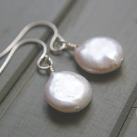 White coin pearl earrings sterling silver