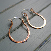Horseshoe hoop earrings copper