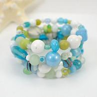 Memory wire margarita wide bracelet aqua & lime