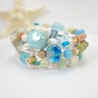 Memory wire ocean breeze wide bracelet