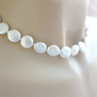 White coin pearl necklace hand knotted