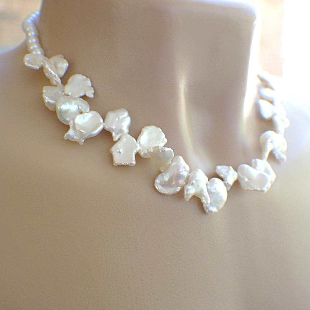 White flower garland petal pearl necklace mightylinksfo