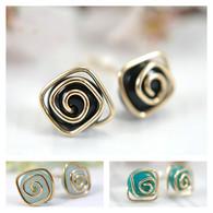 Spiral post gemstone earrings 14k gold filled