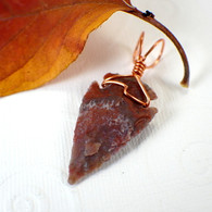 Arrowhead pendant red purple wire wrapped in copper
