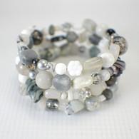 Memory wire riverstone wide bracelet black white grey sparkling