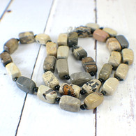 Crazy horse stone bead strand necklace long 24 inch
