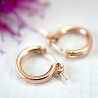Rose gold filled hollow hoop earrings 13mm