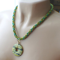 Yellow turquoise donut kumihimo braided necklace green gold