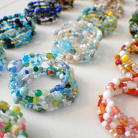 Wholesale Lot of 18 pieces memory wire wide bracelet mixed selection neutrals and colors