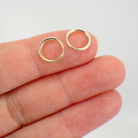 9mm tiny endless hoop earrings 14k yellow or rose gold filled