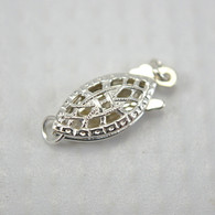 Filigree fish shaped pearl clasp sterling silver 6x15mm