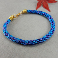 Kumihimo blue turquoise purple braided bracelet gold 8 inch