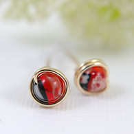 Red and black millefiori glass post earrings gold filled black and red stud earrings 6mm