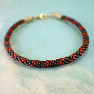 Kumihimo brown braided bracelet gold copper 9 inch